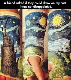 Cast art.  If i ever get a cast, this is happening