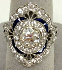 Platinum Diamond DinnerRingwith Blue Sapphires