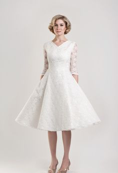 Tea Length Wedding Dress    DAWSON - Tea Length lace v neck wedding dress with three quarter sleeves, full 1950s style skirt and satin underlay