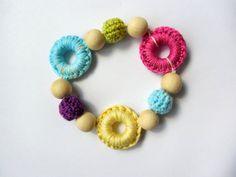 Baby teether bracelet, Breastfeeding bracelet, Crochet bracelet, Sling bracelet, Wooden beads, Nature materials, Hipoallerhenic, Shower Gift by NatalyaCraftsAndArts on Etsy