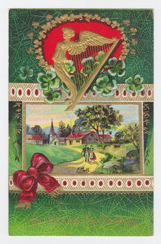 St. PATRICK'S Day Vintage Postcard, IRELAND, COUPLE, Village, Greetings, Harp…