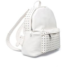 Sandstone Perforated Backpack (87 PLN) ❤ liked on Polyvore featuring bags, backpacks, 7 chi backpack, faux leather bag, white backpack, fake leather backpack and zippered faux leather backpack