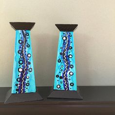 Blue and Black Wood Candle Holders Pair of Hand by claudine Wood Candle Holders, Black Wood, Bright Colors, Painted Furniture, Art Decor, Candles, Colorful, Unique Jewelry, Handmade Gifts