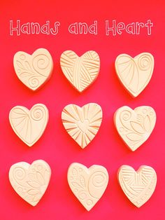 Hearts Set of nine Hand Carved Stamps