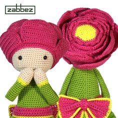 Peony Pam flower doll crochet pattern - amigurumi - design and pattern by Zabbez