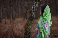 Hand Painted Silk Scarf in Purple and Green by BorneoBatikraft, silk shawl, green scarf, lime green, summer scarf