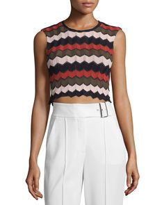 A.L.C. | Multicolor Leo Sleeveless Zigzag Crop Top  wore by hayley