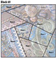 Crazy quilt block 69 diagram via Pintangle.com