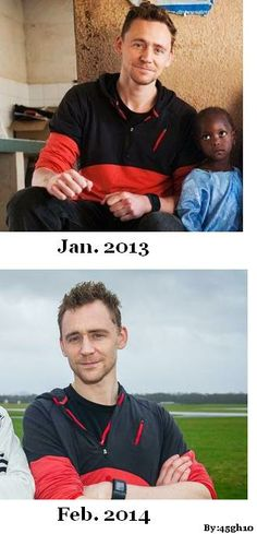Tom's wonderful wardrobe of always recycling clothing. This makes me Love him even more, if that was possible! And I knew that looked familiar somewhere! Ehehe. Probably has the black UNICEF shirt on underneath too! :)