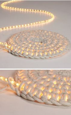 Home Discover Knitting Patterns Yarn Crochet LED fairy lights as carpet schoenstricken. Crochet Projects Craft Projects Crochet Diy Crochet Rope Learn Crochet Crochet Ideas Led Fairy Lights Creation Deco Arts And Crafts