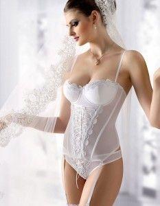 Gracya Juliette White Lace Up Basque W-166 www.yournewstyles.com #lingerie #women #underwear