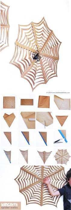 Halloween Craft: GIANT Kirigami Spider Webs- Learn how to make giant paper spider webs from butcher paper!