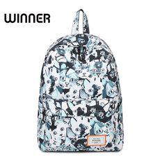Winner Brand Women Canvas Backpack Printing Cat Packbag School Bags for  Teenagers Girls Rucksack Laptop 14inch 32655f7357
