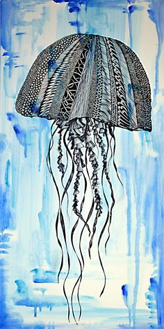 Jellyfish on canvas - complete