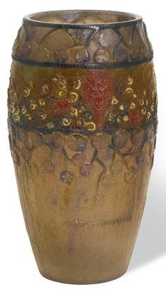 Gabriel Argy-Rousseau 'FAUNES ET NYMPHES' VASE, CIRCA 1923 pâte de verre, with drilled hole to underside moulded G. ARGY-ROUSSEAU, painted FRANCE