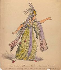 """NYPL via the Getty digital images, collection of theatrical correspondence and ephemera: """"Miss Foote as Rebecca in Ivanhoe or The Knights Templar."""""""