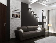 black and white interior with wall panel for High-tech style  interior   #High-tech #style