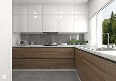 Interior design - Kitchen: Interior of the apartment in Teofilów - Large open ., Interior design - Kitchen: Interior of the apartment in Teofilów - Large open L-shaped kitchen, Scandinavian style - Here architects. Simple Kitchen Design, Kitchen Room Design, Best Kitchen Designs, Kitchen Cabinet Design, Home Decor Kitchen, Interior Design Kitchen, New Kitchen, Home Kitchens, Kitchen Wood