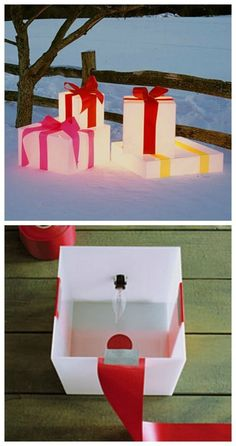 Lighted Gift Boxes - Decorating with lights – 20 DIY String Light Projects outsidechristmasdecorations