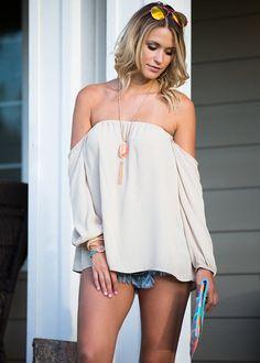 Off the shoulder. Top. Long sleeve, Tan, Sheer, Cute, Fashion, Online Boutique. Modern Vintage Boutique