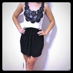 Black/White Dress Short black/white dress, bodice includes intricate floral detailing, pockets, model is 5'2 Soprano Dresses