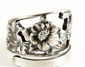Stunning Columbine Spoon Ring in Sterling Silver, Handmade Gift for Her, Custom Ring Size (5461)