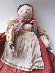 Antique Folk Art Toaster Doll Immigrant Dress Micro Cross Stitch Apron Silk Scarf  $65 -  Offers accepted, mail to: vanityflairvintage@gmail.com       https://www.rubylane.com/item/676693-D16-4/Antique-Folk-Art-Toaster-Doll-Immigrant