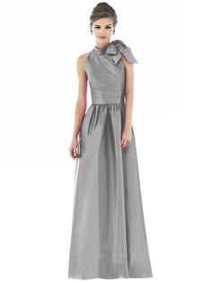 Alfred Sung D533 Bridesmaid Dress Bow Tie High Neck A-line