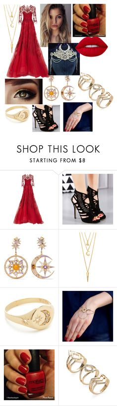 """""""Untitled #2"""" by cebusby ❤ liked on Polyvore featuring Monique Lhuillier, Diego Percossi Papi, BERRICLE, Jacquie Aiche and Lime Crime"""