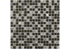 The Dark Empredor marble that is used in the Boston Glass & Stone Mosaic originates from Spain. The rich brown marble together with the brown and grey glass give this mosaic a bold and striking look that would suit any bathroom or kitchen and make a real feature.