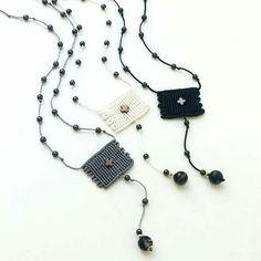 Macrame cross necklace