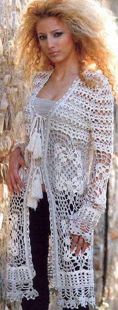 Materiales gráficos Gaby: Patrones de tapados bien largos en crochet