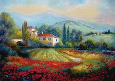 Poppy fields of Italy Painting by Gina Femrite - Poppy fields of Italy Fine Art Prints and Posters for Sale