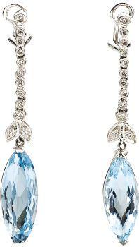 Aquamarine, Diamond, White Gold Earrings