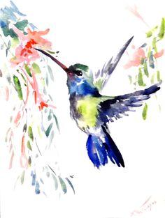 Hummingbird Original watercolor painting 12 X 12 by ORIGINALONLY, $24.00