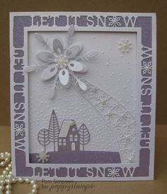 Hello everyone Pam here today, sharing a Lilac and white Christmas card. Lilac…