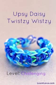 January 30, 2014  upsy daisy twistzy wistzy.  Used white yellow and green - daisy inspired. Pretty.  I had a green band break in the middle.  Disappointed, BUT both ends were showing. I salvaged the bracelet by tying the ends!  Success in perseverance!