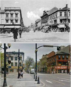 then and now king and john Hamilton Ontario Canada, Time Photo, City Girl, Old Pictures, Street View, Ottawa, Family History, Vintage Photos, Toronto
