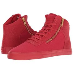 Supra Cuttler (Risk Red) Women's Skate Shoes (204.545 COP) ❤ liked on Polyvore featuring shoes, low top skate shoes, supra footwear, skate shoes, red shoes and traction shoes