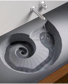 Natuurstenen Wastafel met schelp ontwerp