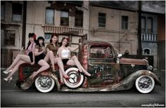 hot rod pin ups.. I've always liked pin ups more than normal models. Well I grew up looking at these women. Go to many cars shows with my grandpa, hot rod magazines, etc. And because they are of a real size. Their thighs touch, they are a size 12, but are still considered gorgeous.