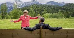 20150608 - A chanceler alemã, Angela Merkel, fala com o presidente dos Estados Unidos, Barack Obama, do lado de fora do castelo Elmau, na Alemanha, nesta segunda-feira (8). Merkel pediu aos líderes do G7 para se comprometerem com objetivos mais duros para cortar os gases causadores do efeito estufa no último dia da cúpula do Grupo dos Sete nos Alpes da Baviera  PICTURE: Michael Kappeler/Reuters