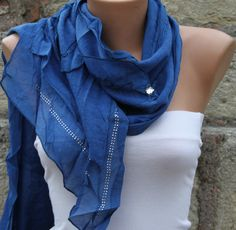 Passover Blue Knitted Scarf Winter Accessories Shawl Cowl