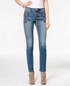 Inc International Concepts Petite Embroidered Skinny Jeans, Only at Macy's - Blue