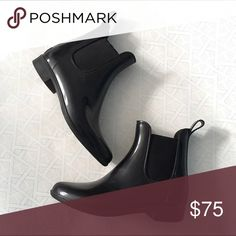 J. Crew Black Chelsea Rainboots Worn a handful of times. Still in good condition. Very stylish rain boot and versatile. Very comfortable as well. Look great paired with pants leggings or tights. J. Crew Shoes Winter & Rain Boots