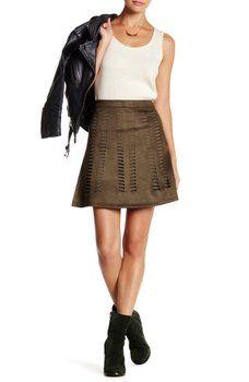 ROMEO &JULIET COUTURE - Faux Suede Laser Cut Mini Skirt