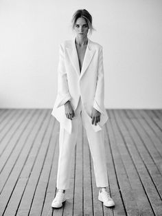 White suit + sneakers