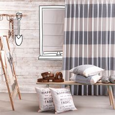 Recycled, oude stoffen krijgen een nieuw leven: You can't buy happiness but you can buy recycled fabric. And that's pretty close Recycled Fabric, Window Coverings, Recycling, Windows, Curtains, Black And White, House, Happy, Pretty