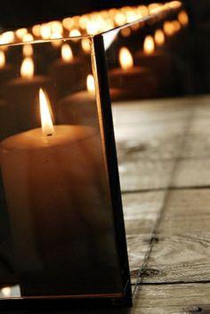 Mirrored Glass Rectangular Candle Holder