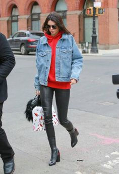 Kendall Jenner with leather panths and Denim jacket